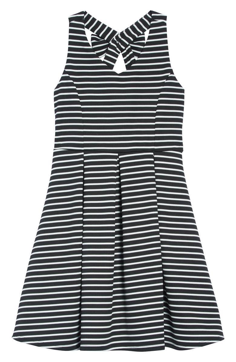 AVA & YELLY Rib Stripe Skater Dress, Main, color, 001