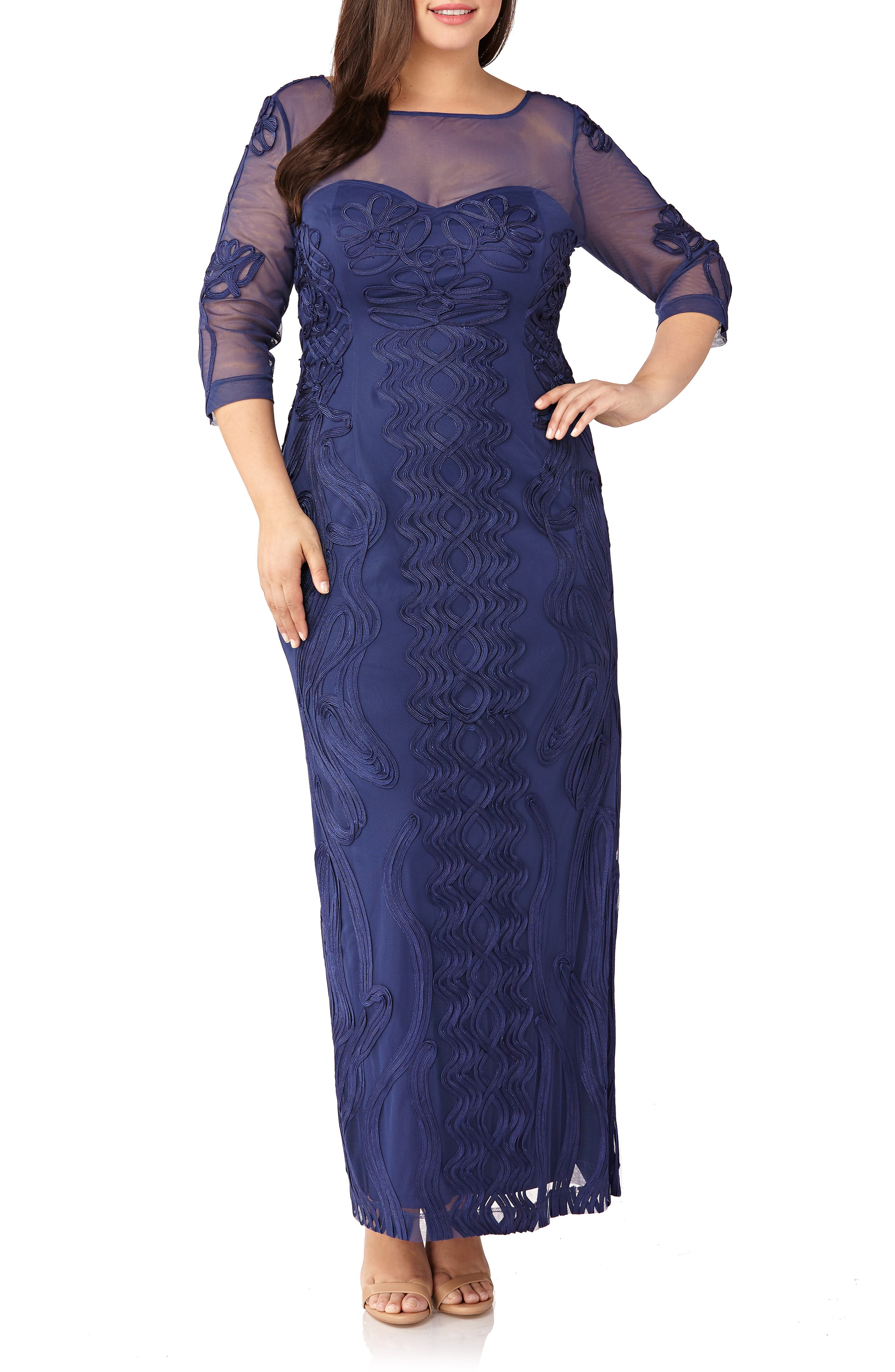 Plus Size Js Collections Soutache Trim Mesh Column Gown, Blue