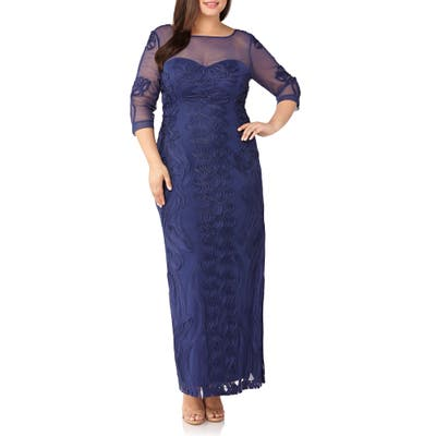 Plus Size Js Collections Soutache Trim Mesh Column Gown, Blue