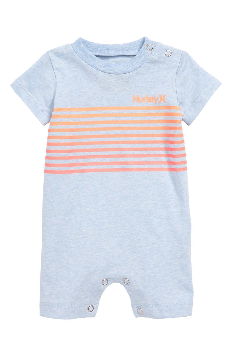 HURLEY Ombré Stripe Romper, Main, color, CHAMBRAY BLUE HEATHER