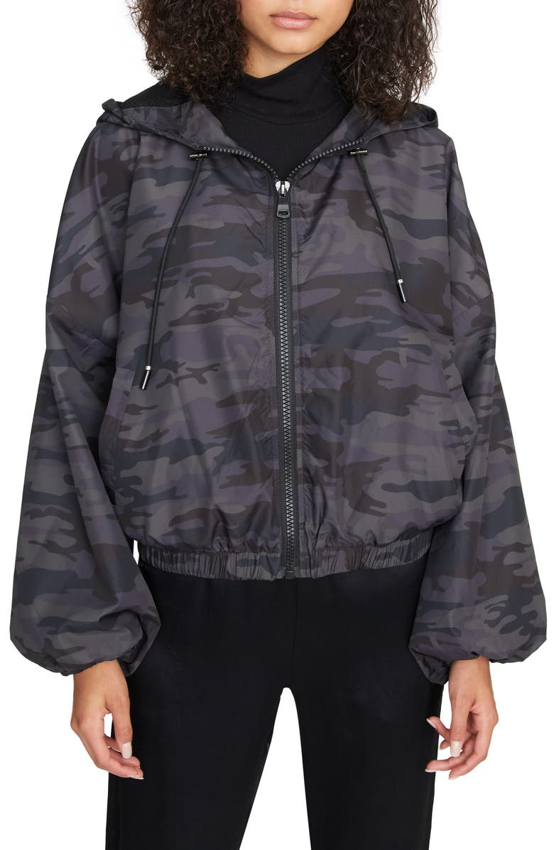 SANCTUARY On the Run Hooded Jacket, Main, color, BLACK CAMO
