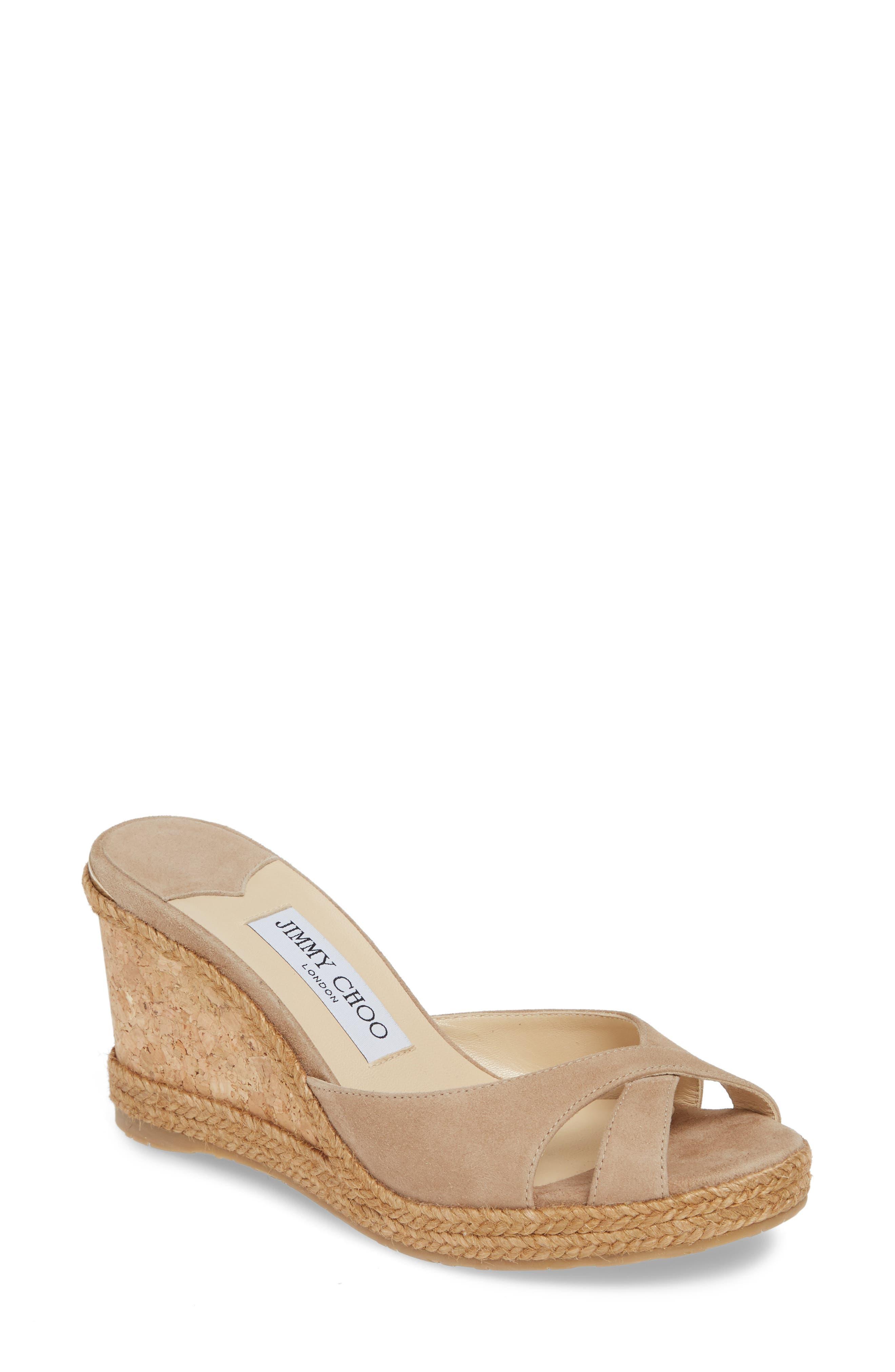 Almer Cork Wedge Sandal, Main, color, NUDE SUEDE