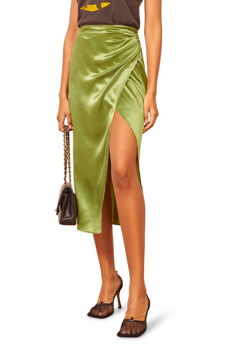 REFORMATION Sabine Silk Midi Skirt, Main, color, 100