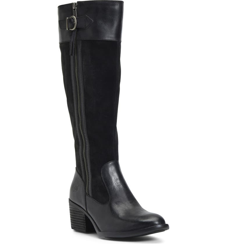 BØRN Uchee Knee High Boot, Main, color, BLACK DISTRESSED LEATHER