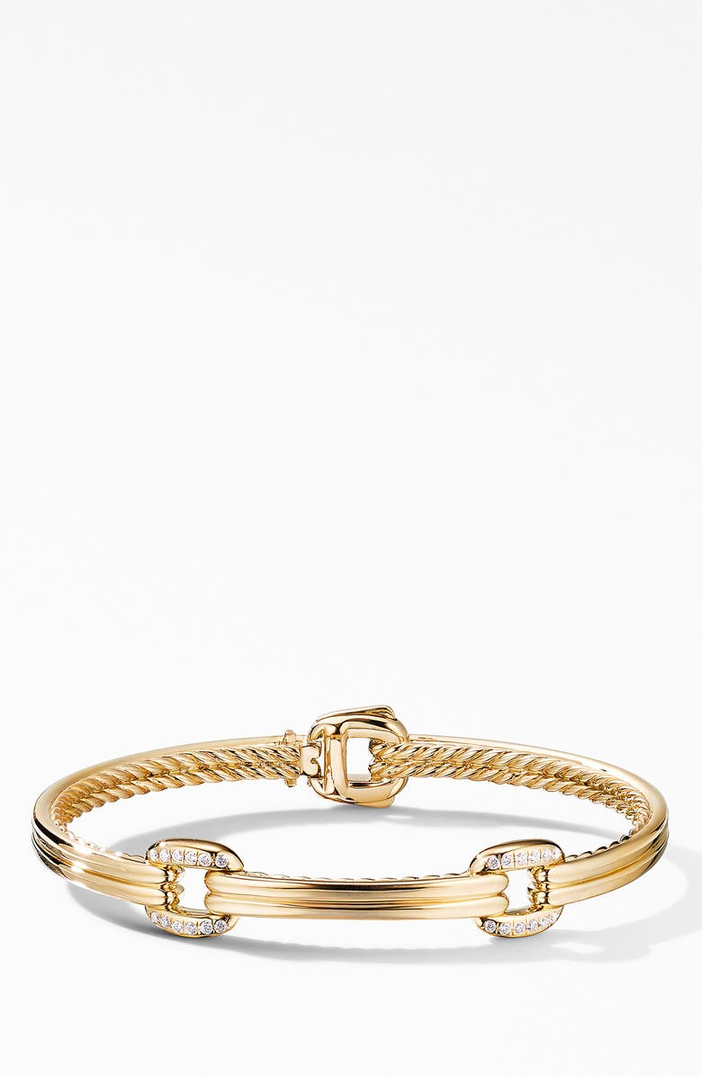 DAVID YURMAN Thoroughbred<sup>®</sup> Double Link Bracelet in 18K Yellow Gold with Diamonds, Main, color, YELLOW GOLD/ DIAMOND