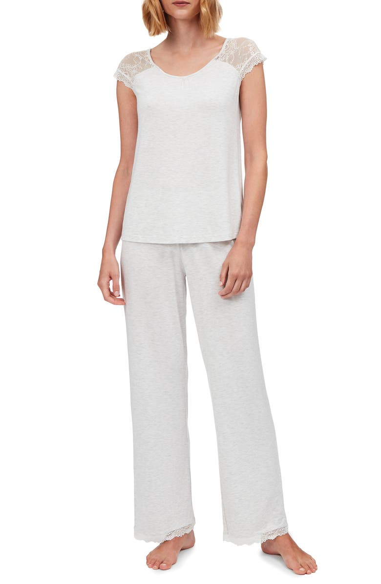 THE WHITE COMPANY Lace Detail Cap Sleeve Pajamas, Main, color, 020