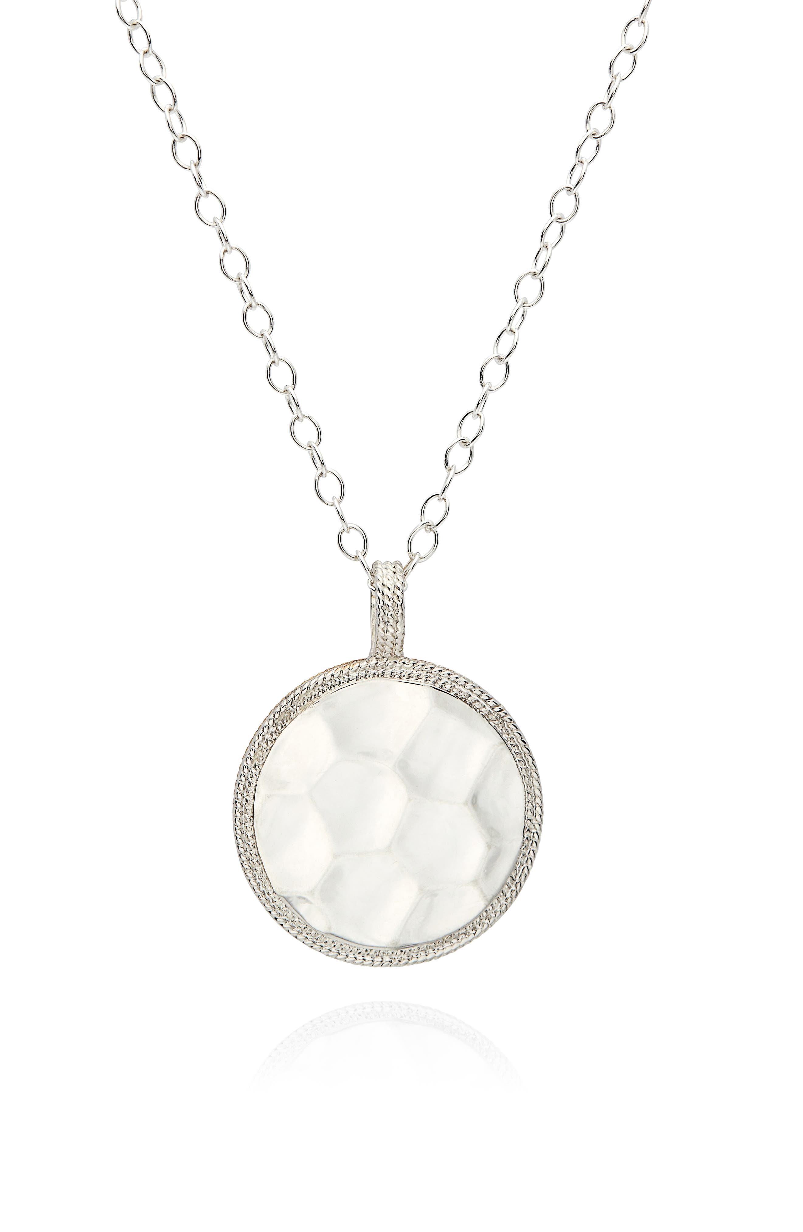 Hammered Reversible Disc Pendant Necklace