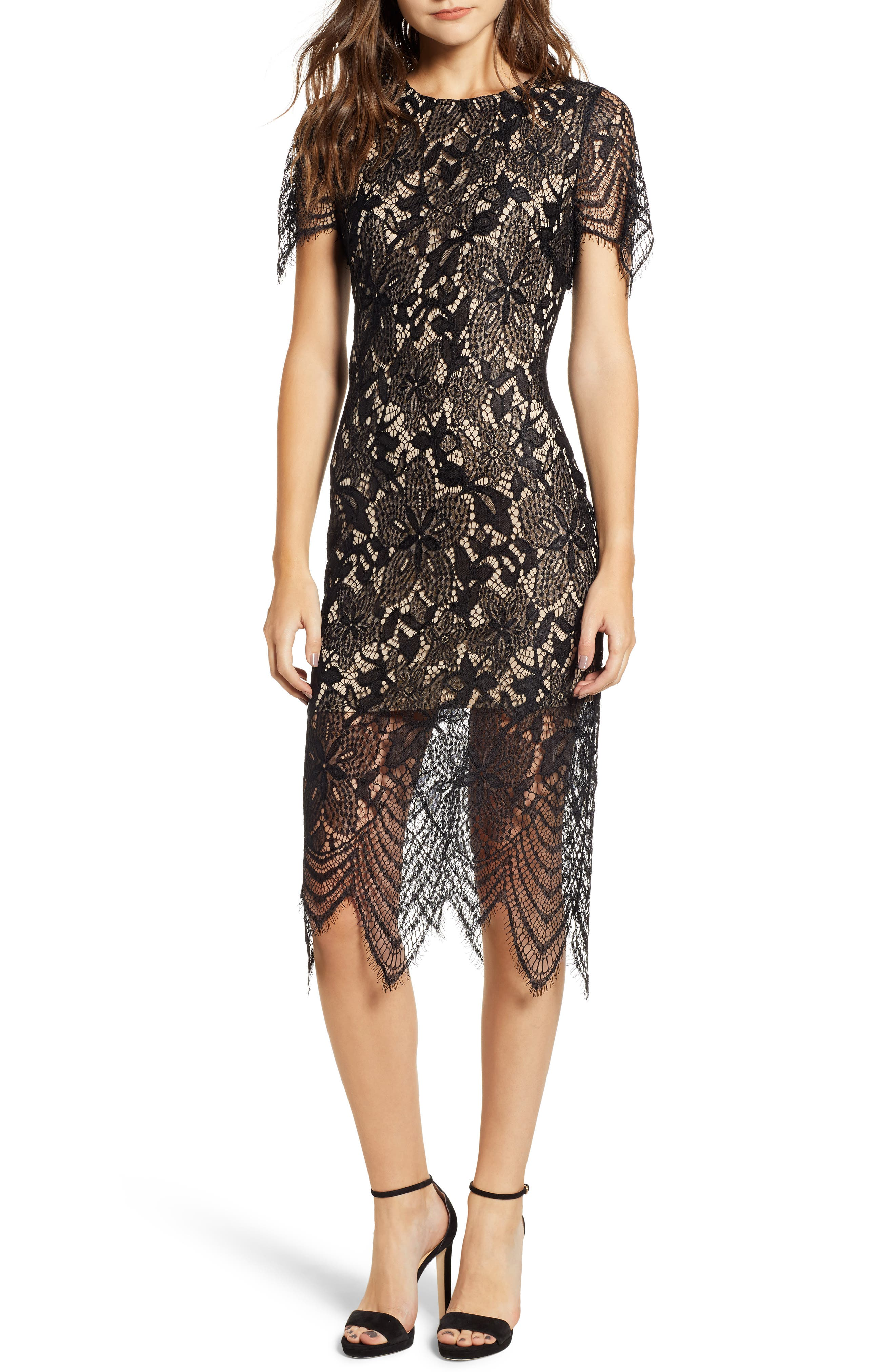 ,                             Scallop Lace Dress,                             Main thumbnail 1, color,                             001