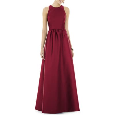Alfred Sung Sateen Gown, Burgundy