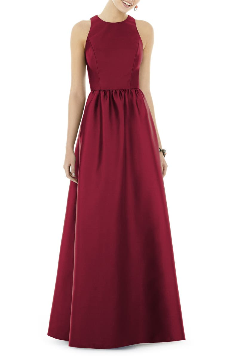 ALFRED SUNG Satin A-Line Gown, Main, color, BURGUNDY