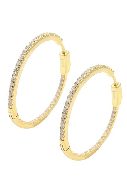 Image of Savvy Cie 18K Yellow Gold Vermeil Pave CZ 32mm Inside Out Hoop Earrings