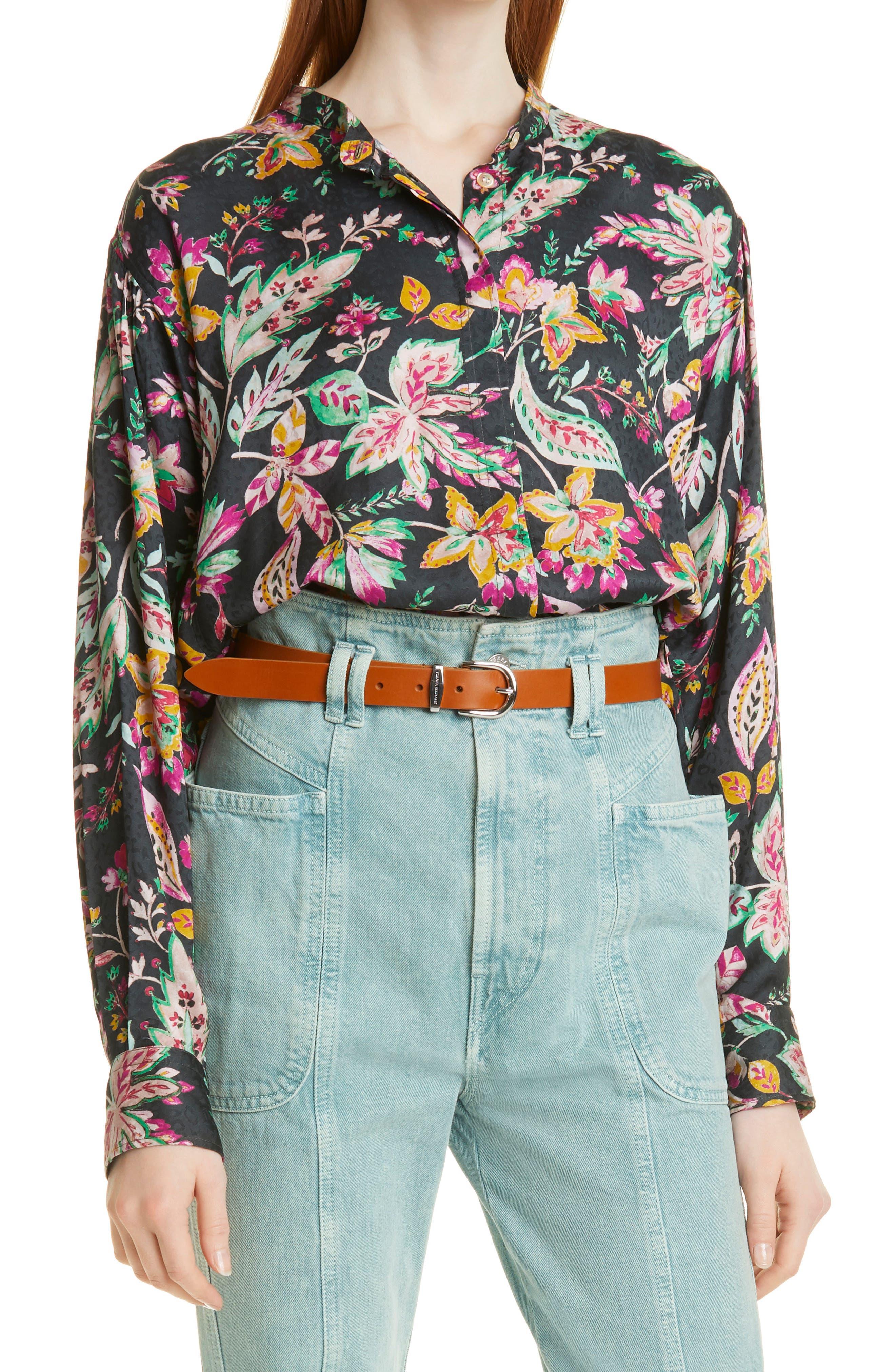 Women's Isabel Marant Etoile Catchell Floral Print Jacquard Long Sleeve Blouse