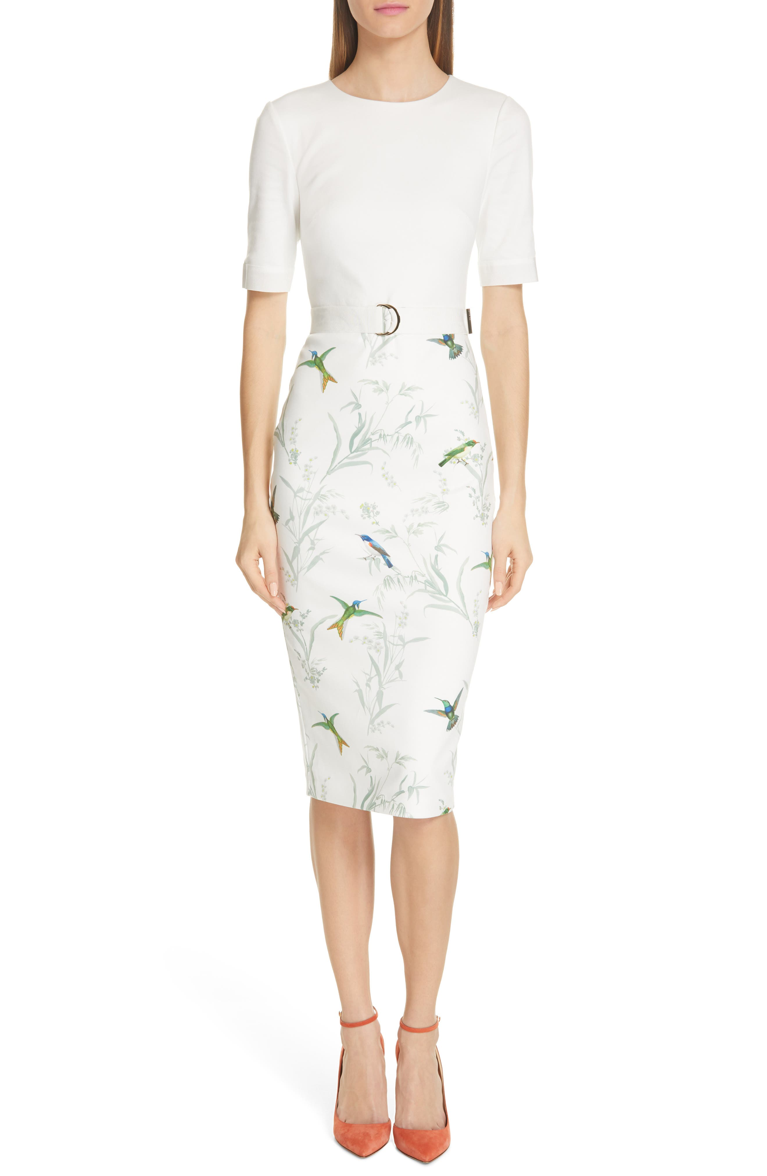 Ted Baker London Kinnya Fortune Belted Body-Con Dress, Ivory