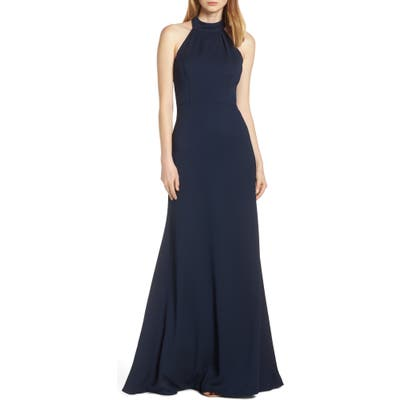 Hayley Paige Occasions Mock Neck Strappy Back Crepe Evening Dress, Blue
