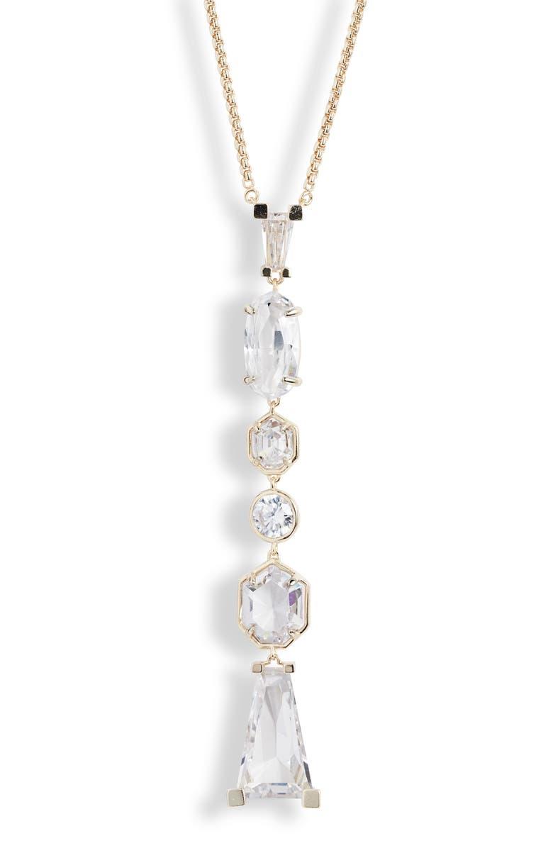 KENDRA SCOTT Gracelynn Long Y-Necklace, Main, color, GOLD LUSTRE/ GLASS CZ