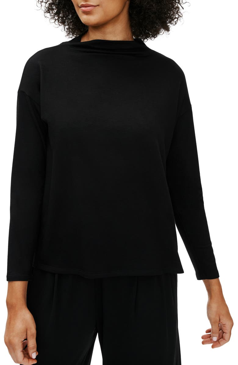 EILEEN FISHER Stretch Terry Funnel Neck Box Top, Main, color, 001