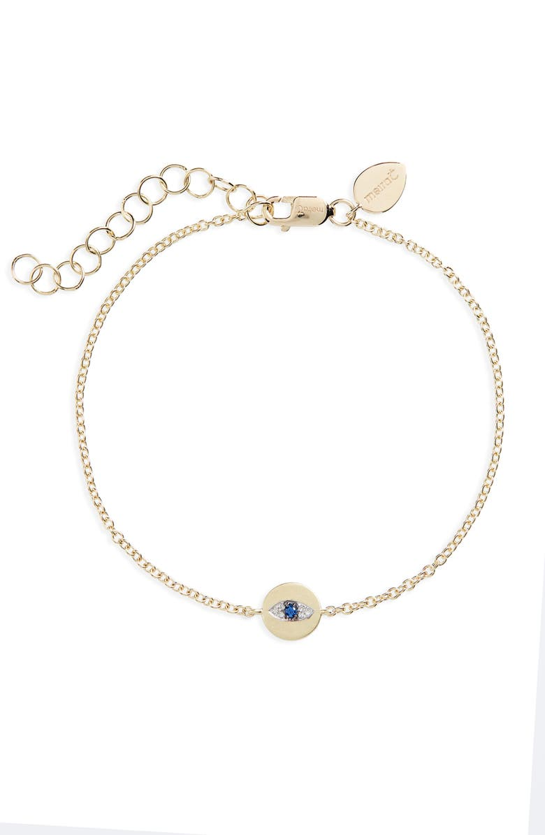 MEIRA T Evil Eye Sapphire & Diamond Bracelet, Main, color, YELLOW GOLD