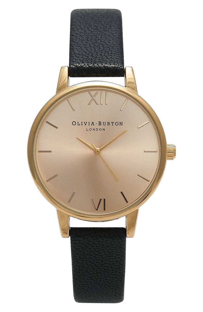 OLIVIA BURTON 'Midi Dial' Leather Strap Watch, 30mm, Main, color, 001