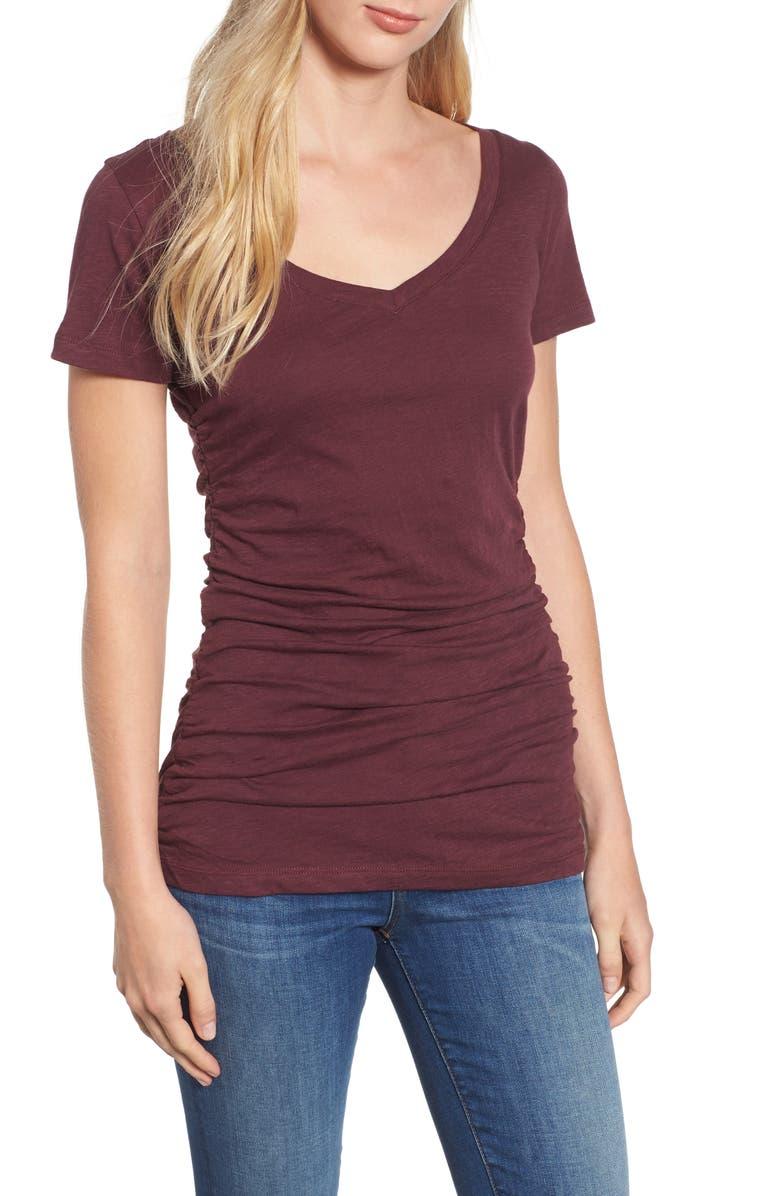 CASLON<SUP>®</SUP> Shirred V-Neck Tee, Main, color, 931