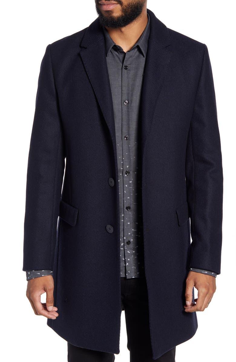 HUGO Migor Slim Fit Wool Blend Coat, Main, color, 405