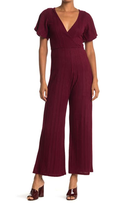 Image of Velvet Torch Ruffle Sleeve Ribbed Knit Sweater Jumpsuit