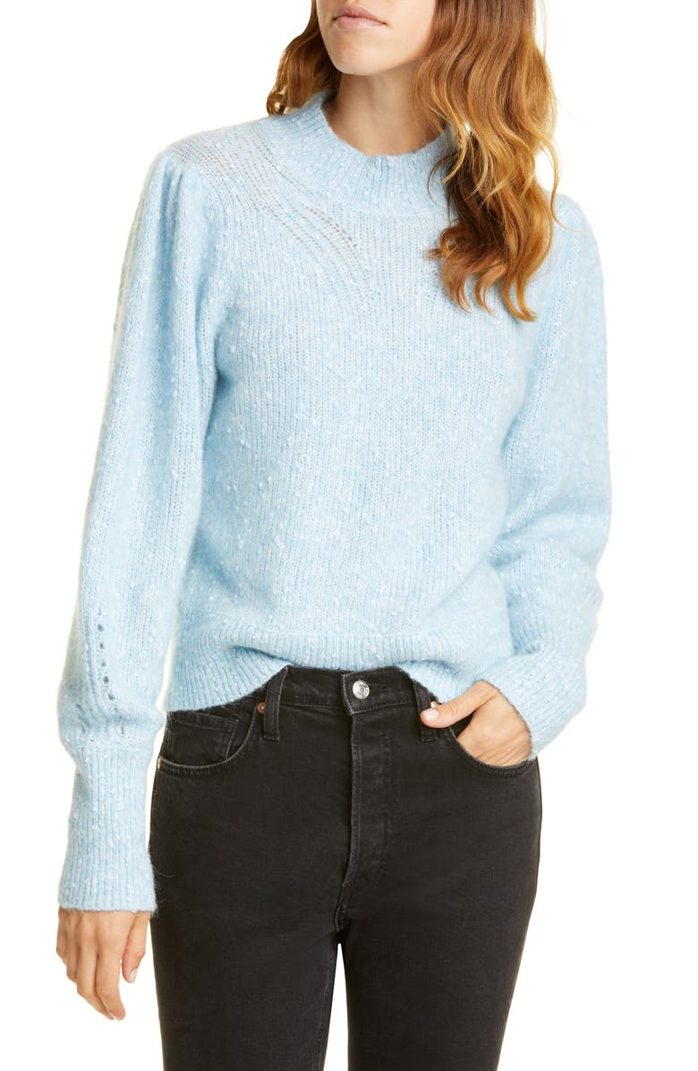 REBECCA TAYLOR Optic Nep Balloon Sleeve Sweater, Main, color, CAROLINA BLUE