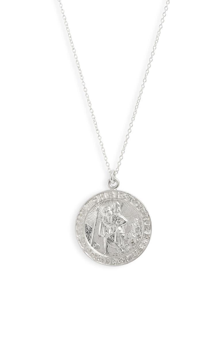 SET & STONES Saint Christopher Necklace, Main, color, SILVER