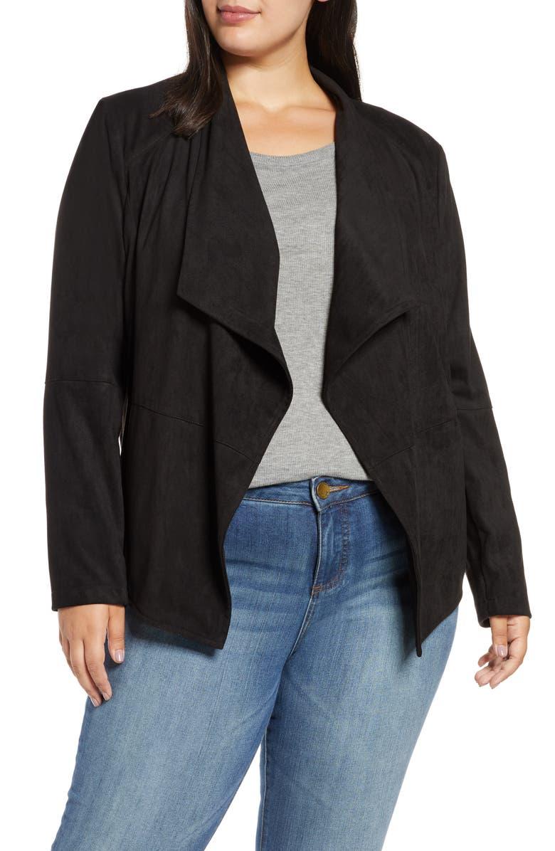 BB DAKOTA Wade Drape Front Faux Suede Jacket, Main, color, BLACK