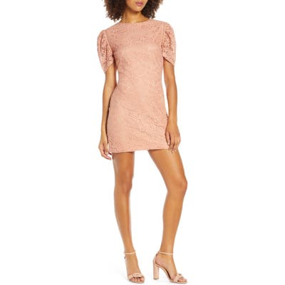 Nsr Angelique Puff Sleeve Lace Minidress, Pink