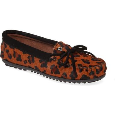 Minnetonka Leopard Spot Genuine Calf Hair Moccasin, Brown