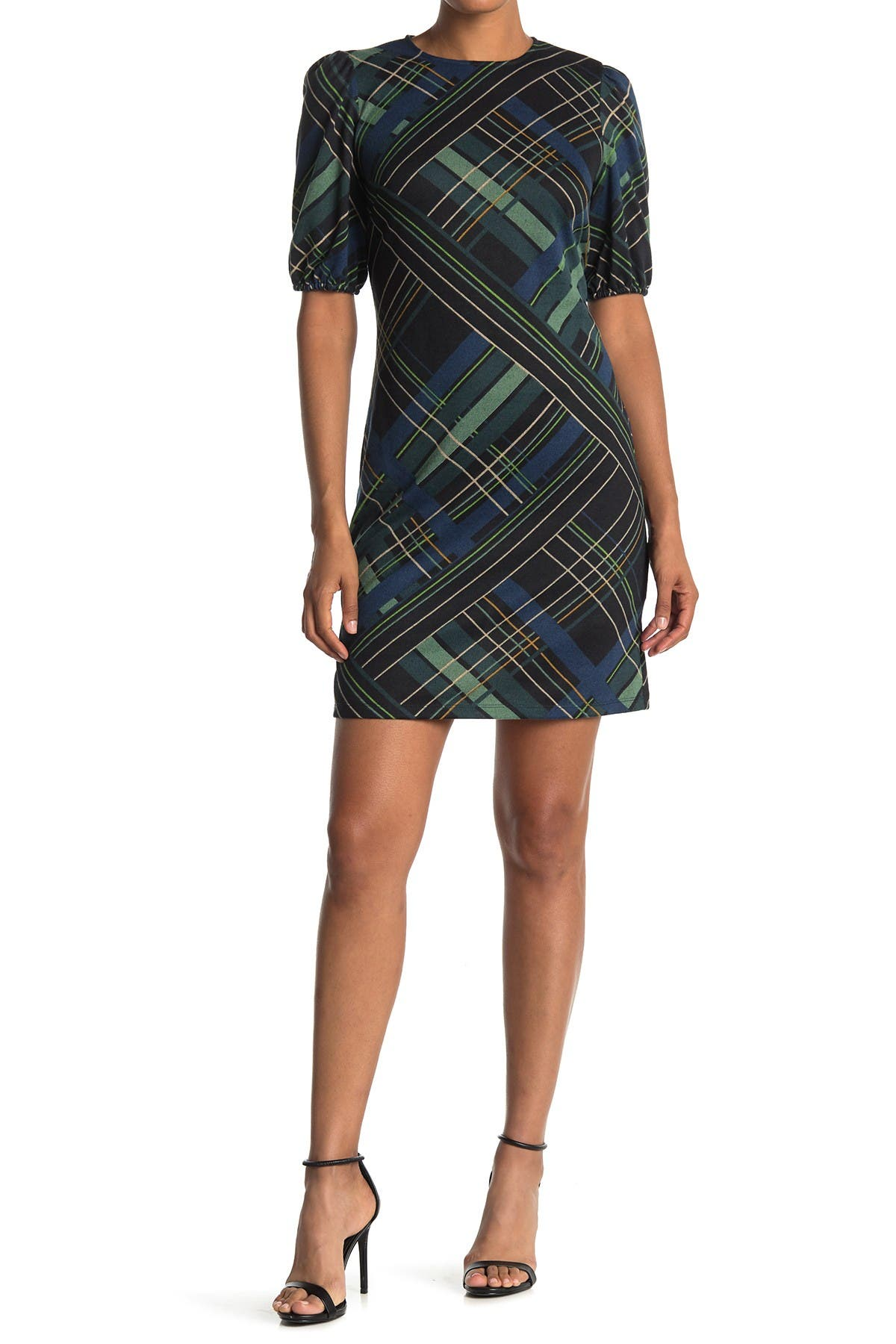 Image of London Times Plaid Print Novelty Sweater Dress