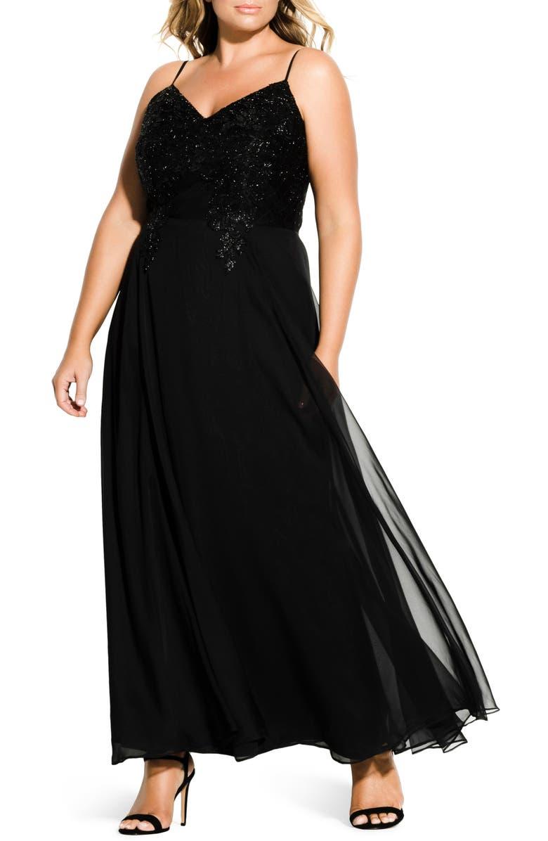 CITY CHIC Divine Sequin Bodice Gown, Main, color, BLACK