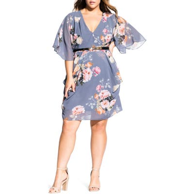 Plus Size City Chic Florence Floral Belted Wrap Style Dress, Purple