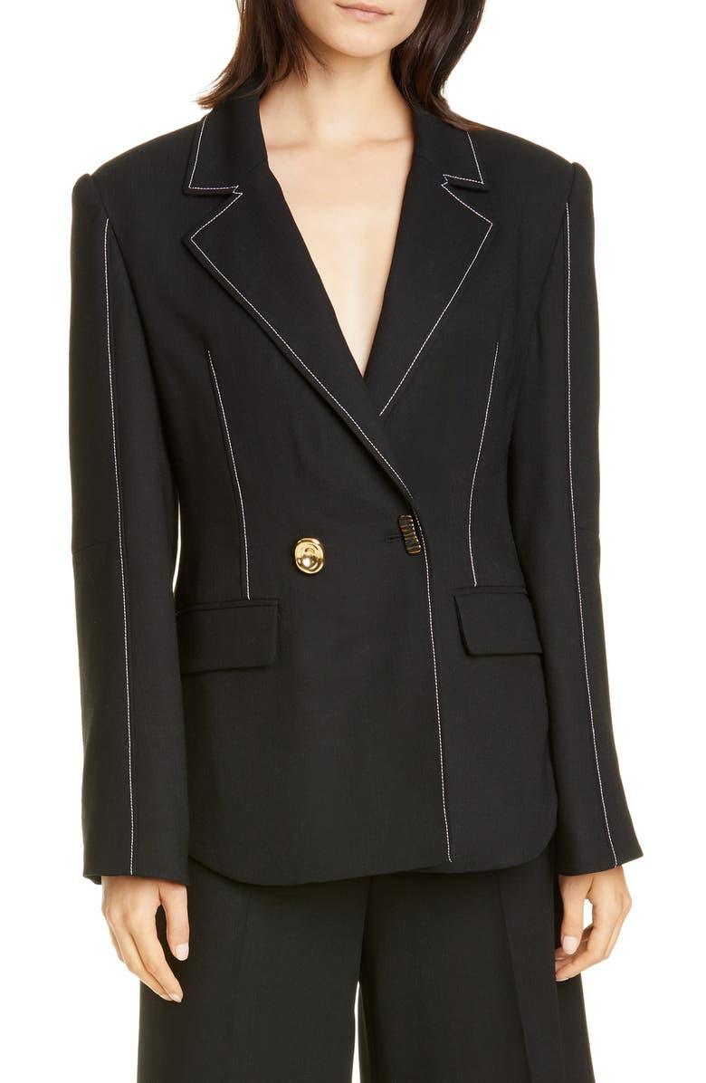 REJINA PYO Una Wool Blend Blazer, Main, color, BLACK