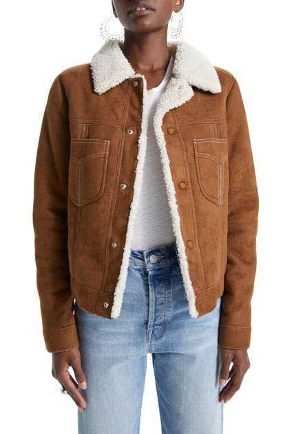Mother Jackets THE CURVED POCKET FAUX SHEARLING AVIATOR JACKET