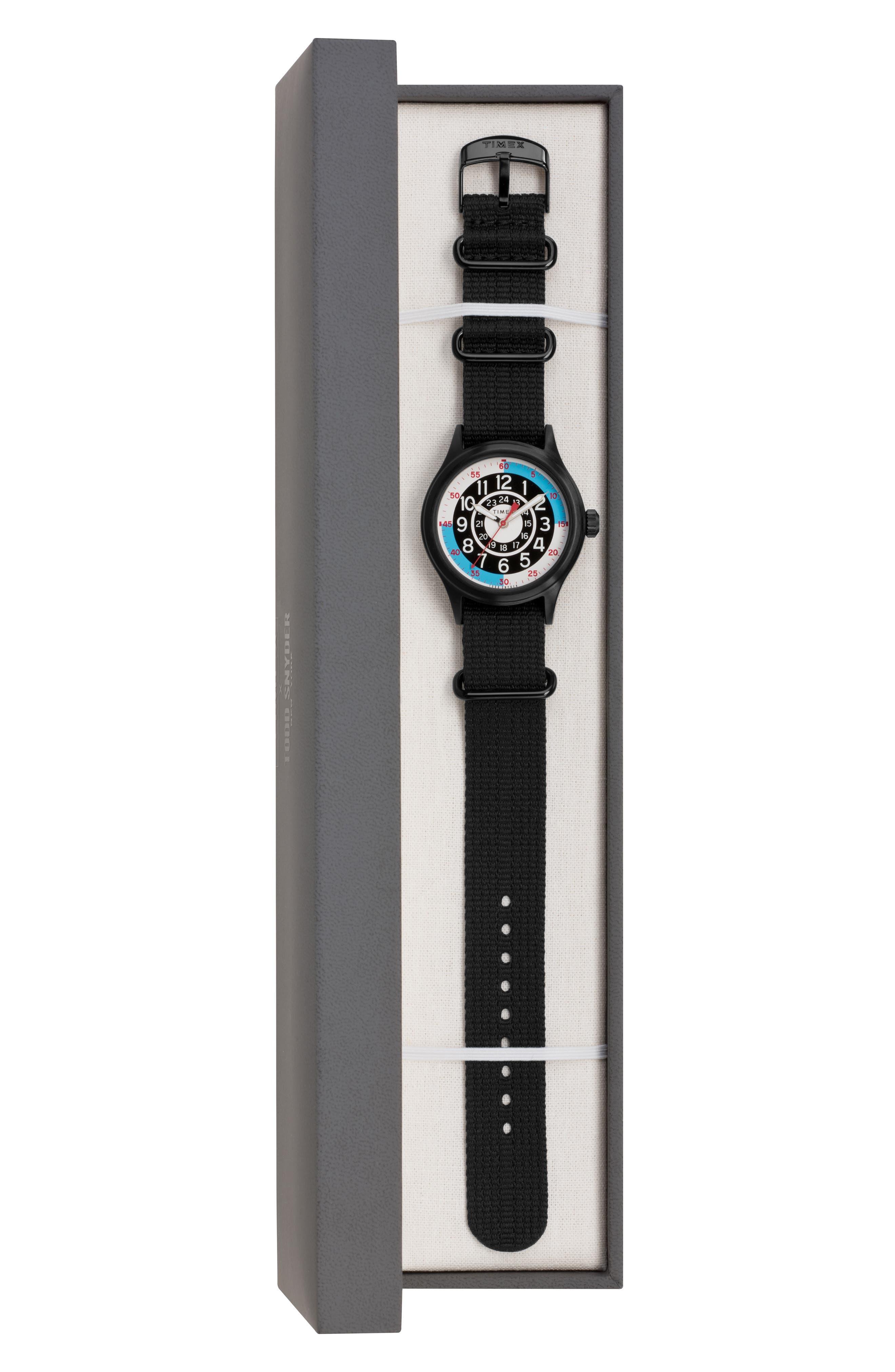 ,                             The Blackjack NATO Strap Watch, 40mm,                             Alternate thumbnail 4, color,                             WHITE/ BLACK