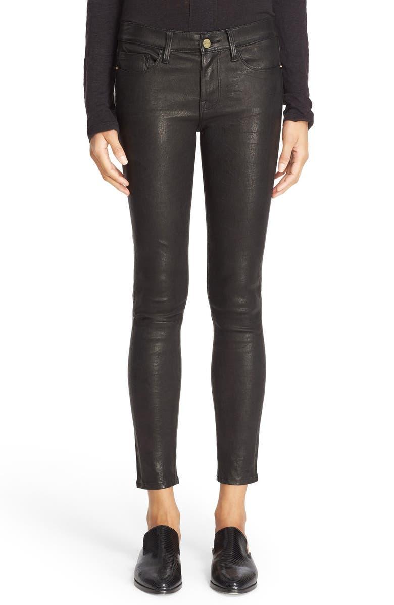 FRAME 'Le Skinny' Lambskin Leather Pants, Main, color, WASHED BLACK