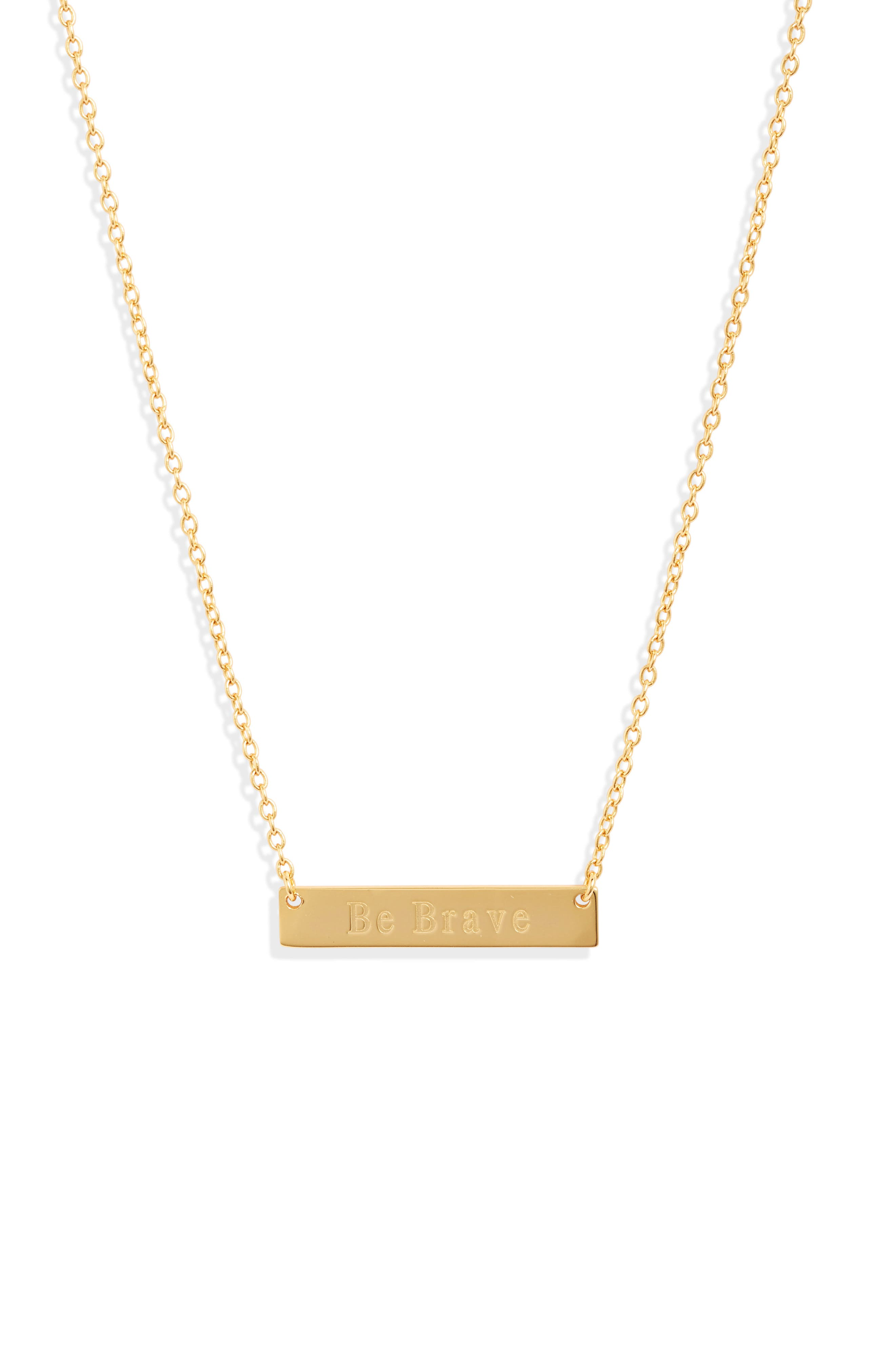 A simple design featuring a gleaming bar pendant embossed with an inspiring message defines this understated necklace. Style Name: Sterling Forever Be Brave Bar Pendant Necklace. Style Number: 5904770. Available in stores.