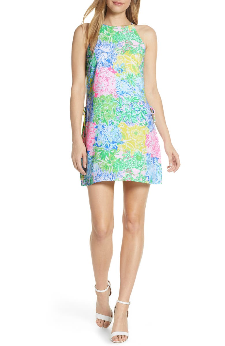 LILLY PULITZER<SUP>®</SUP> Pearl Romper Dress, Main, color, MULTI CHEEK TO CHEEK