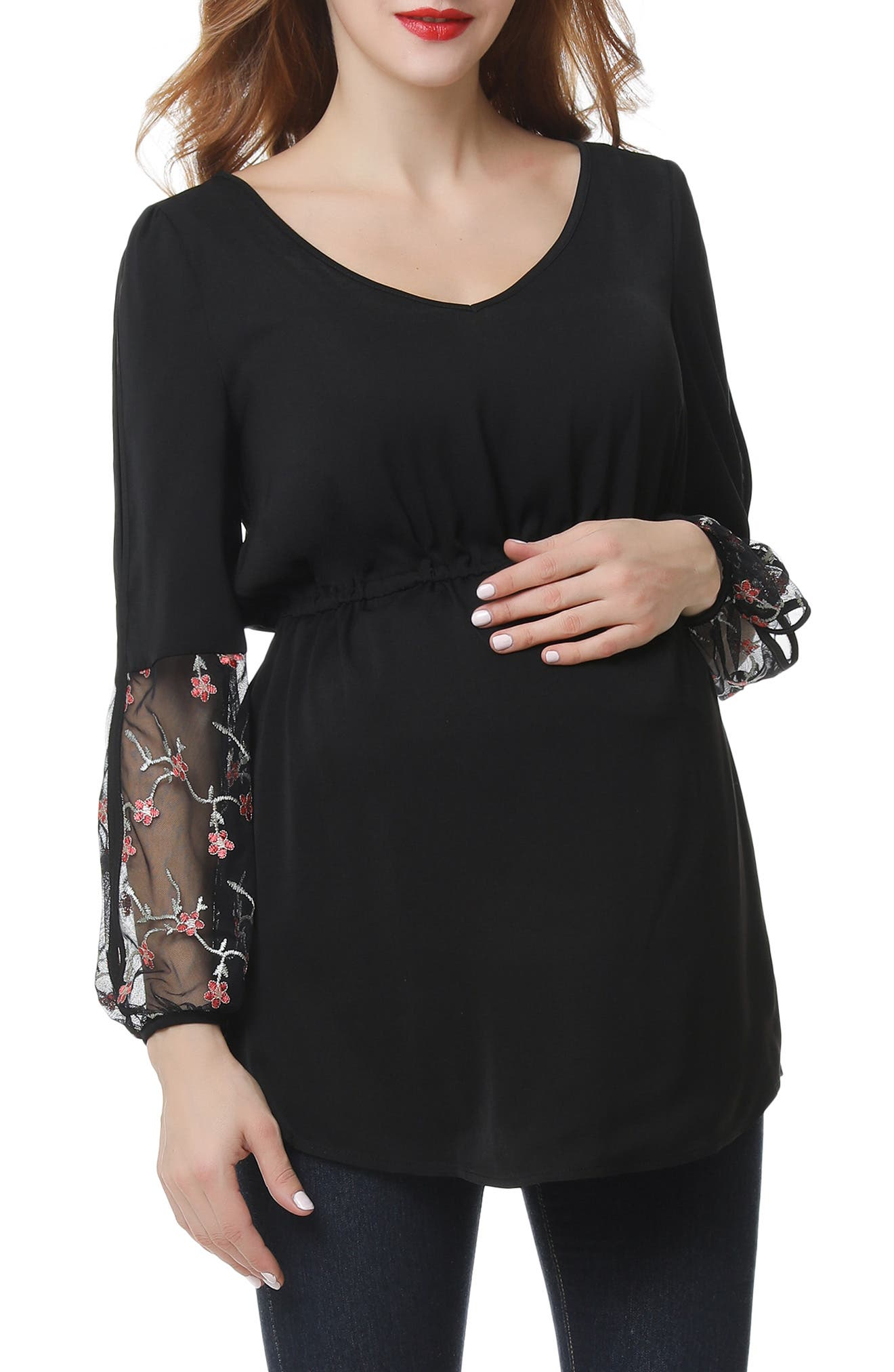 Gisel Embroidered Maternity Top
