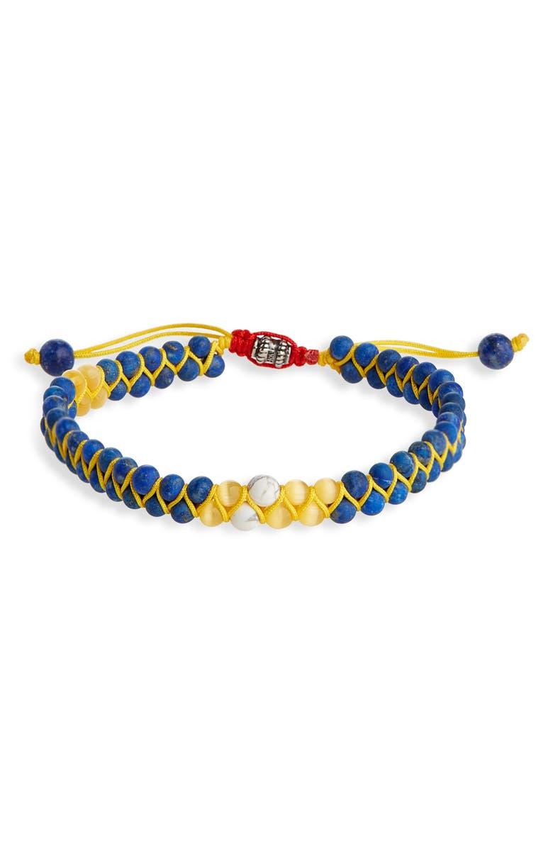 JONAS STUDIO Double Woven Bead Bracelet, Main, color, BLUE/ YELLOW