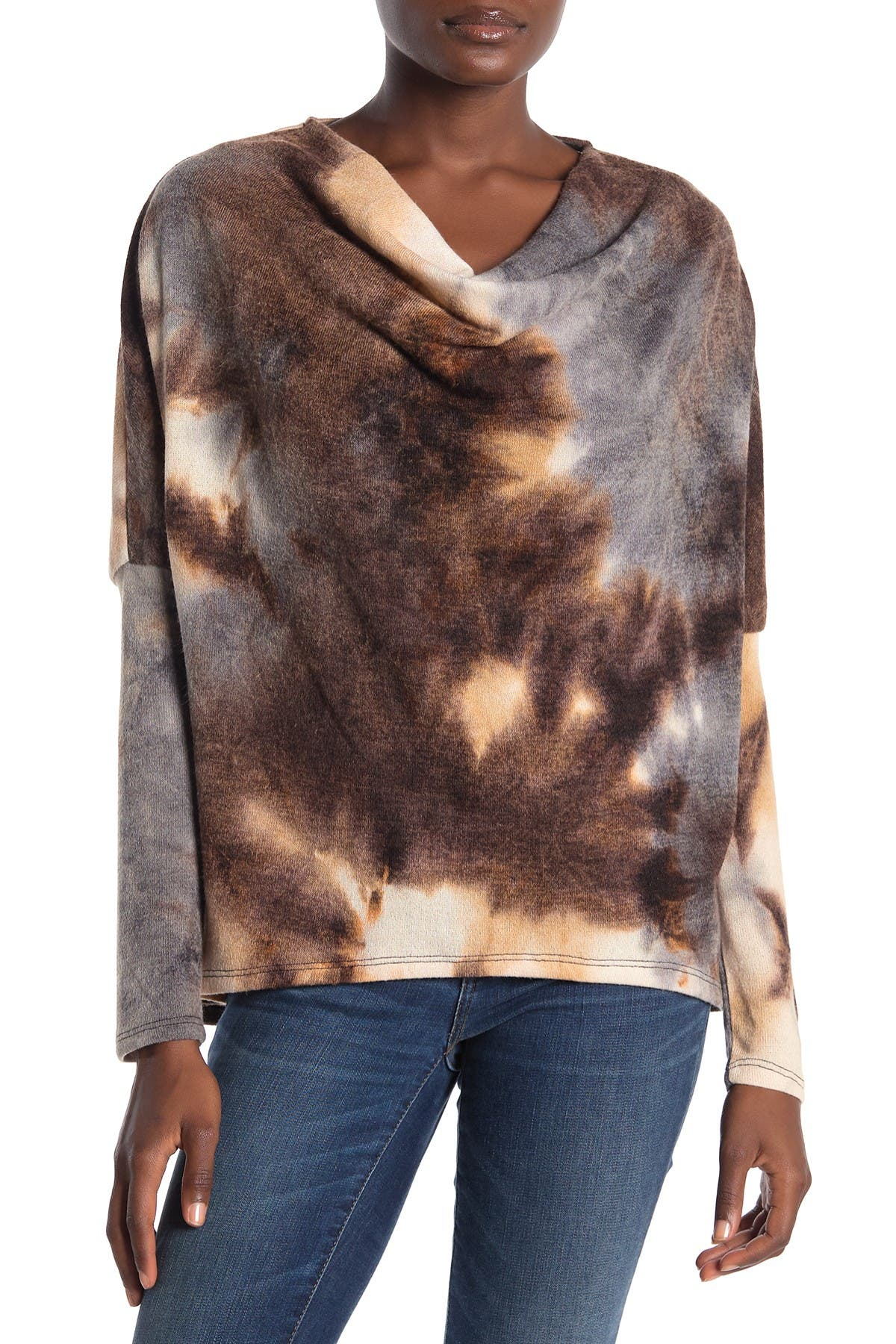 Image of Everleigh Cowl Neck Tie Dye Pullover