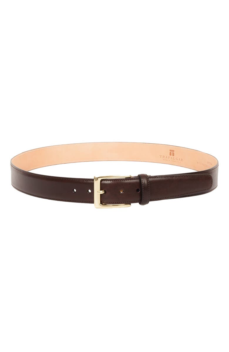 TRAFALGAR 'Cortina' Leather Belt, Main, color, DARK BROWN