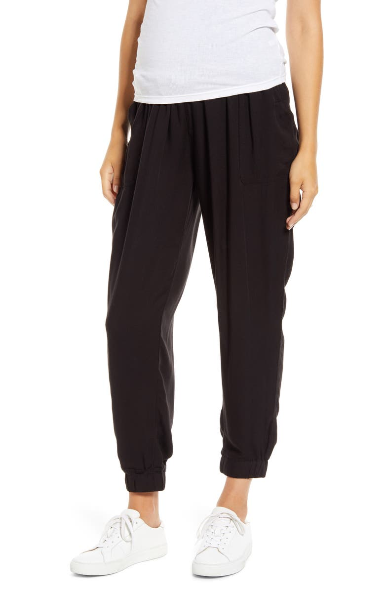 FOURTEENTH PLACE Over the Belly Maternity Jogger Pants, Main, color, BLACK