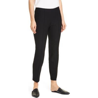 Eileen Fisher Center Pleat Ankle Pants, Black