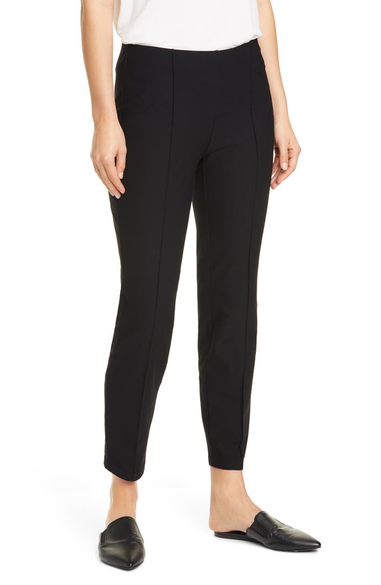 EILEEN FISHER Center Pleat Ankle Pants, Main, color, BLACK