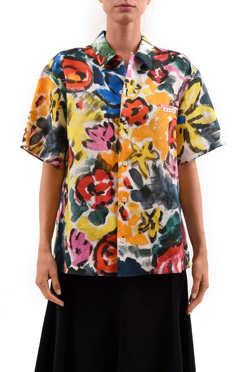 MARNI Floral Print Ramie Button-Up Shirt, Main, color, 700