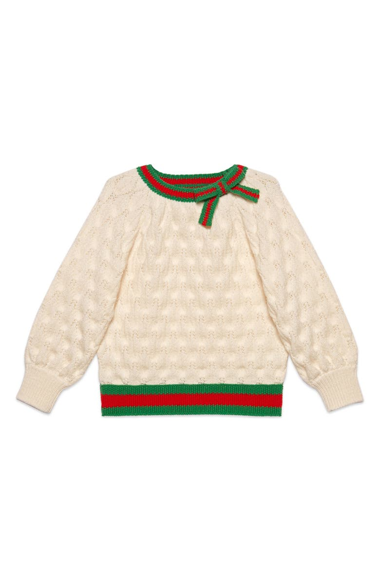 GUCCI Web Trim Wool Sweater, Main, color, 900