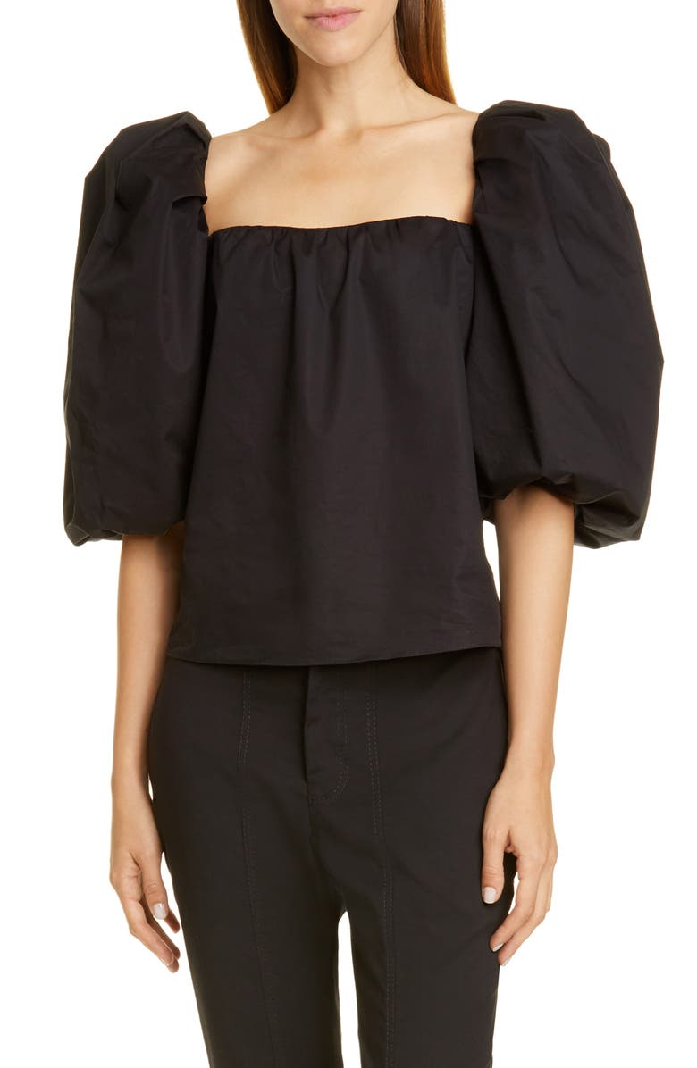 JOHANNA ORTIZ Puff Sleeve Off the Shoulder Top, Main, color, BLACK