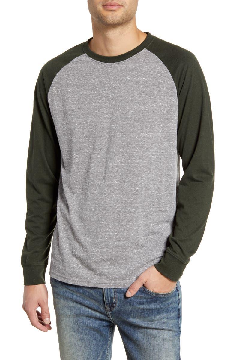 THREADS 4 THOUGHT Triblend Raglan Long Sleeve Crewneck T-Shirt, Main, color, HEATHER GREY/ ROSIN